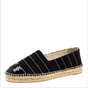 Chanel black tweed striped espadrilles